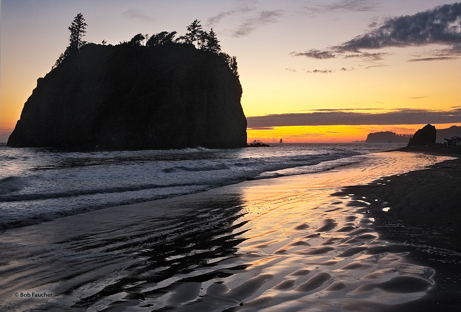 Ruby Beach,sea stack,sunset,reflection,ripple, photo