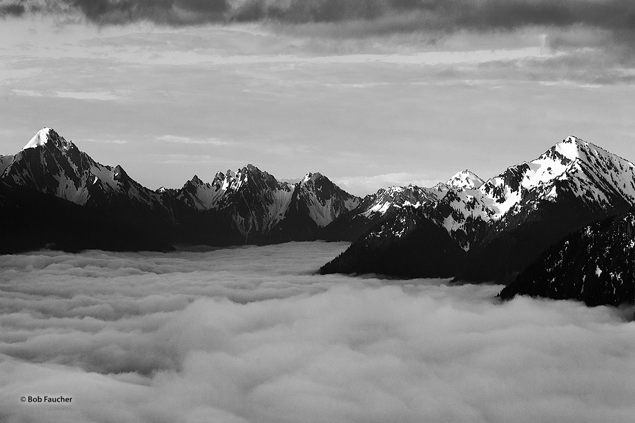 The Elwha River Valley is filled with early morning fog and low clouds leaving the higher peaks of the Olympic range protruding...