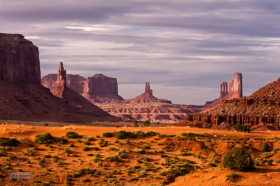 Late afternoon light on Sentinel Mesa and Big Indian as seen from the valley floor near West Mitten Butte