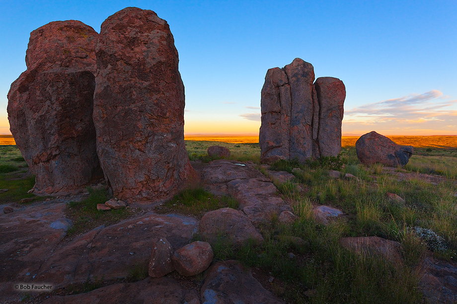 The first rays of morning light pour over the Cooke Range to the east to light up the Mimbres Valley. The large, sculptured rock...