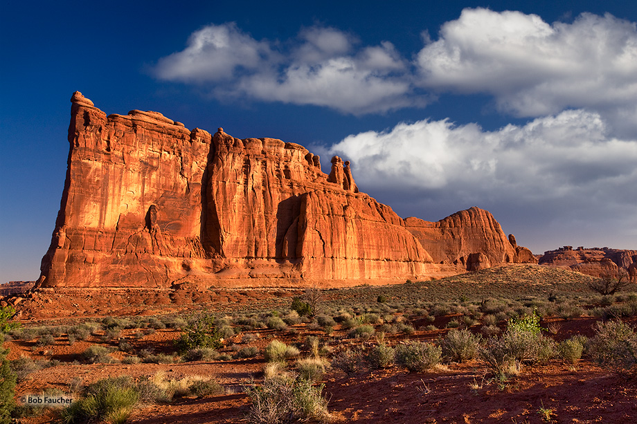 Arches NP,The Tower of Babel,clouds,morning sun, photo