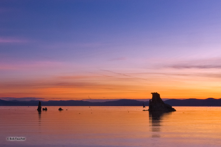 Mono Lake on a windless day at dawn