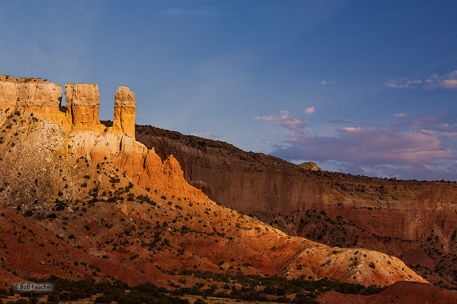 Abiquiu,Ghost Ranch,twin towers,sunset, photo