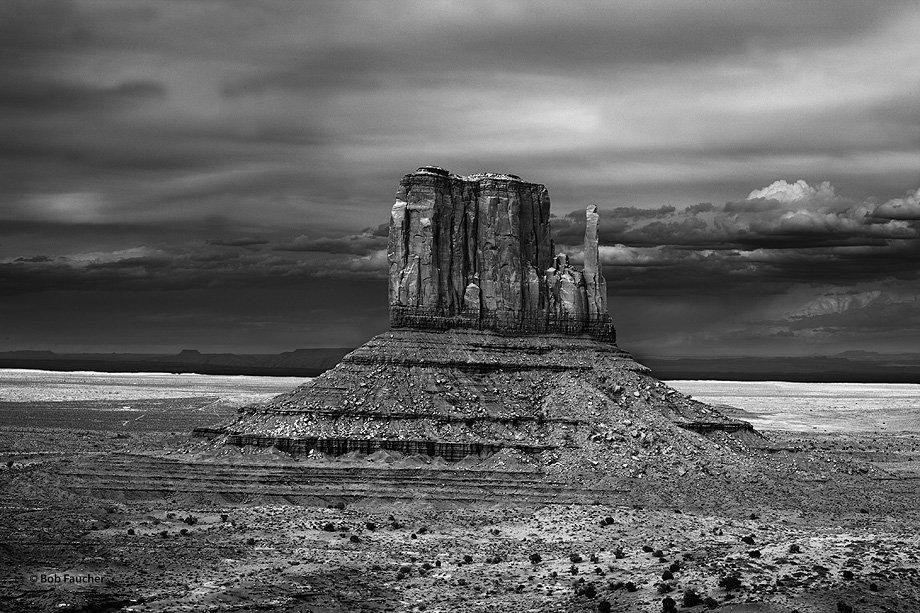 West Mitten, one of Monument Valley's iconic rock formations, photographed with evening light.