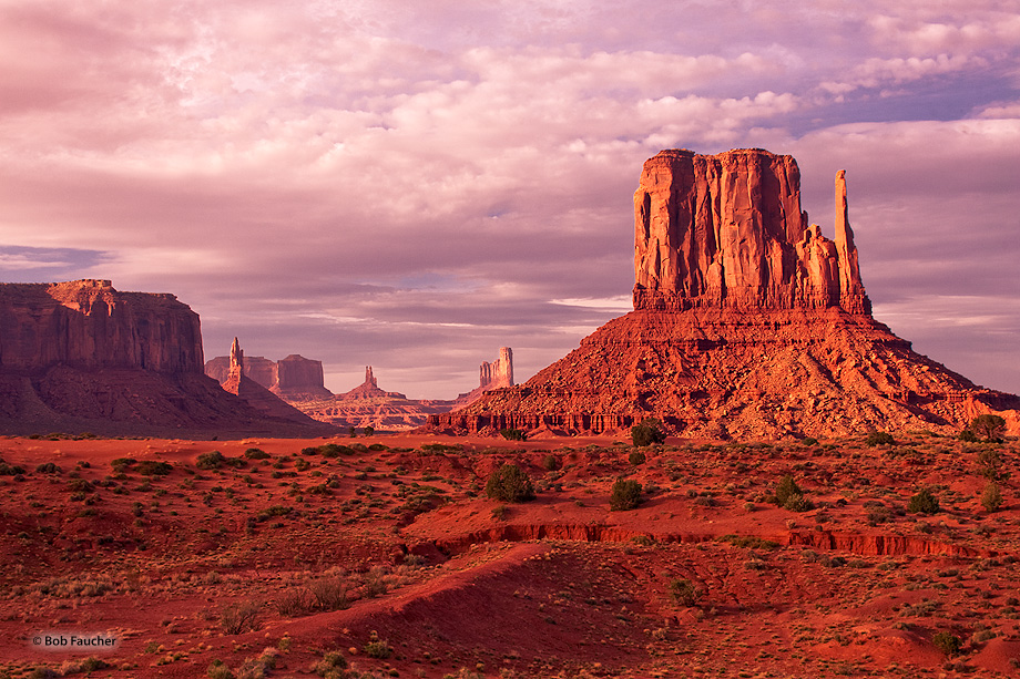 Late afternoon light graces West Mitten, as seen from the valley floor, with Sentinel Mesa and Big Indian in the background.