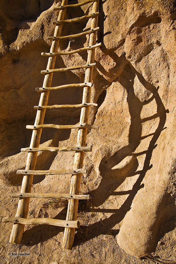 New Mexico,Bandelier NM,ladder,shadow, photo