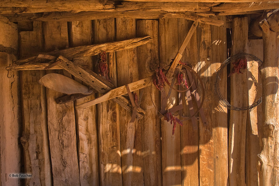 Tools of the trade for workers on a ranch hang on the workshop wall.
